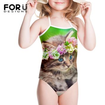 Gilrs Green Floral Cats Printed Swimsuit for Baby 3y-8y String Flower Kitty Kawaii One Piece Beachwear Bathsuit for Kids