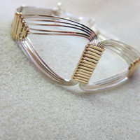 Grecian Bracelet,14K gold filled 925 Sterling Silver quality heavy duty wire wrapped 8 inch