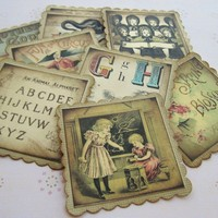 Children Storybook Favor Gift Tags, Vintage Inspired