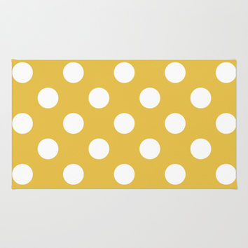 Beige and White Polka Dots Area & Throw Rug by Kat Mun | Society6