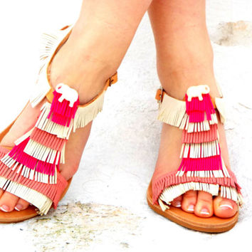 "Pink &White Leather Sandals, Greek Sandals, white elephant shoes, barefoot sandals, ""Amelie"" Valentine's gift for women"