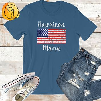 American Mama Flag July 4th Unisex Jersey Tee