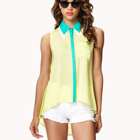 Colorblocked Double Collar Shirt | FOREVER 21 - 2037664432