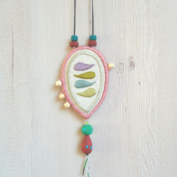 Embroidery necklace, fabric jewelry, textile pendant necklace, fabric necklace polymer clay beads, boho necklace, textile jewelry, fimo bead