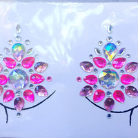 Pink Crystals Festival Body Gems: pasties, makeup, hair, nail art, festival glitter, costume, unicorn,  body, edc, sticker, edm, rave, body