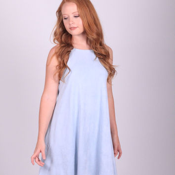 Ice Blue Suede Dress