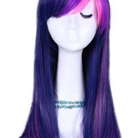 MapofBeauty 55cm Multi-Color Long Straight Cosplay Wig (Purple/ Pink)