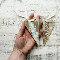 Wooden heart ornaments shabby chic Valentines day decor gift, pastel baby blue off white white brown grey cherry blossom spring