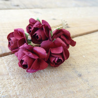 Burgundy Flower Wedding Hair Pins,  Bridal Hair Pins, Hair Accessories, Fabric Hair Pins, Bridesmaid Hair, Woodland - Set of 6