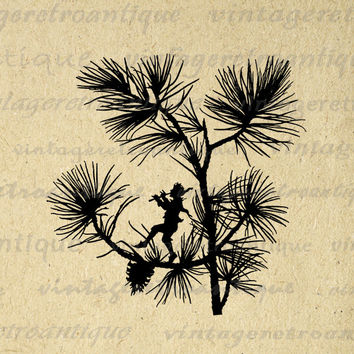Digital Printable Flute Playing Fairy Silhouette Graphic Image Download Vintage Clip Art for Transfers Making Prints etc HQ 300dpi No.2146