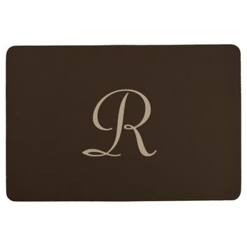 Brown and Tan Monogrammed Floor Mat
