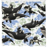 Panda Whale Rides Bathroom Fun Shower Curtain