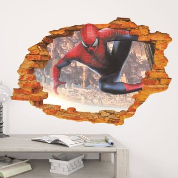 Super Hero Spiderman 3D Wall Decal Sticker for Boys Kids Room