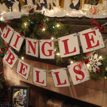 JINGLE BELLS Christmas Banner- Christmas Garland-Holiday Garland -Holiday Photo Prop -Holiday Banner