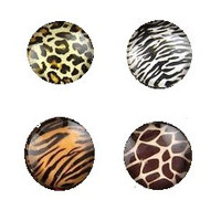 You Choose One Animal Print Stud Cabochon Earrings in Giraffe, Zebra, Tiger or Cheetah Print