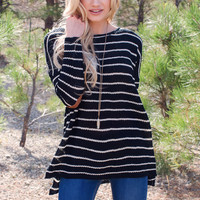 Hannaly Stripe Sweater - Black