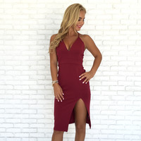 Madame Lace Midi Dress In Burgundy