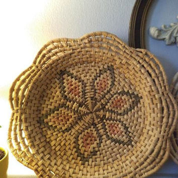 2 Woven Grass Wall baskets ~ Jungalow Wall hangings ~ Native American