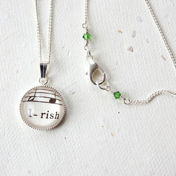 Irish pride necklace.  Jewelry made with real vintage sheet music under glass dome on silver chain with emerald green crystals
