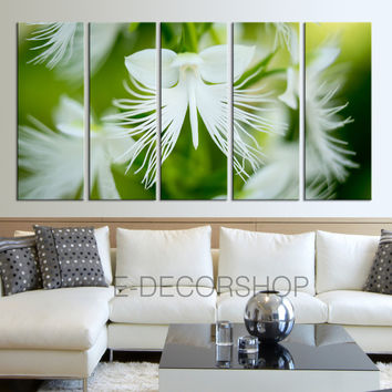 Extra Large Wall Art White Flowers and Green Leaves Canvas Print - Floral Canvas Print