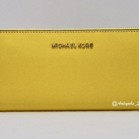 Michael Kors Jet Set Travel Z A Continental Leather Citrus Wallet 38H6GTVZ1L NWT
