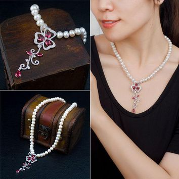 DCCKIX3 Stylish Shiny Jewelry New Arrival Gift Pearls 925 Silver Crystal Accessory Necklace [4914841412]