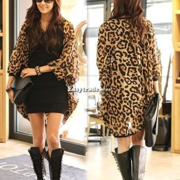 Hot Women Outerwear Leopard Coats Chiffon Batwing Sleeve Casual Cardigan Jackets = 1946724484