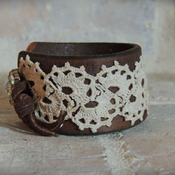 Leather and Lace Cuff / Rhinestone and Leather Cuff / Boho Chic Cuff / Vintage Wedding / Up Cycled Cuff / Re purposed Cuff / Boho