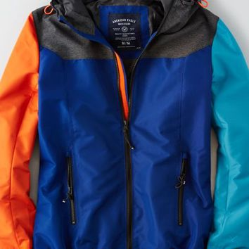 AEO Men's Colorblock Hooded Jacket (Blue)