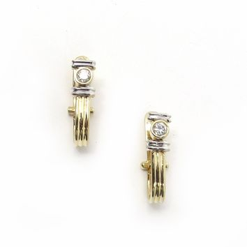 Greek Column 14k Gold Huggie Hoop Earrings, Vintage, 1930s to 1980s