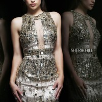 Sherri Hill 9703 - Gold Beaded Sheer Homecoming Dresses Online