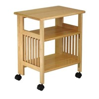 3-Shelf Folding Wood Printer Stand in Natural with Lockable Casters
