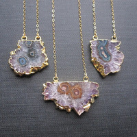 Amethyst Slice Necklace, Gold Amethyst Stalactite Necklace, Amethyst Slice Jewelry