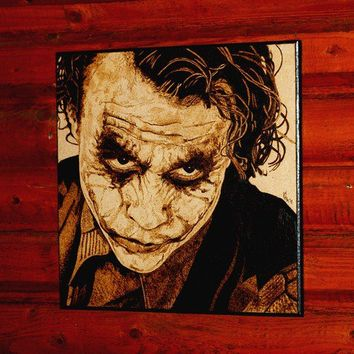 Joker woodburned home decoration