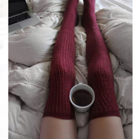Burgundy Cable Knit Over The Knee Boot Socks
