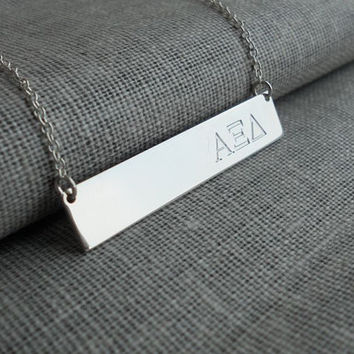 Personalized Sorority Necklace, Sorority Bar Necklace,Sorority Greek Necklace,Silver Sorority Jewelry,Sorority Gifts, Fraternity Charm