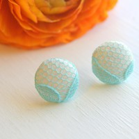 Aqua Lace And White Satin Fabric Button Earrings - Medium | Luulla