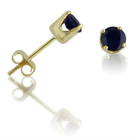 14K Yellow Gold Round 4mm Genuine Sapphire Stud Earrings