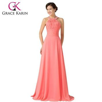 CREYET7 2016 Grace Karin Halter Chiffon Watermelon Long Bridesmaid Dresses Floor Length Back to School Prom Dress Bridesmaid Gown 6028