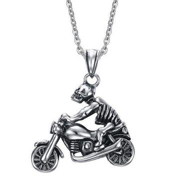 Vintage Motorcycle Skull Necklace For Men - Silver