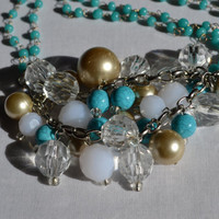 Pearl, Turquoise and Crystal Necklace
