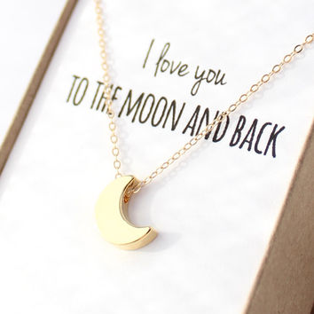 Gold Moon Necklace - Tiny Moon Necklace - Delicate Gold Necklace - Dainty Small Necklace - Mother's Day Gift