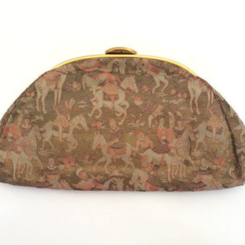 Rare Vintage 1920s Clutch Brocade Woven Novelty Print Cloth Envelope Purse Engraved Gold Metal Handle  Art Deco Woven Medieval Scene 1920s