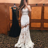 Charming See-through Prom Dresses 2016 Classic White Lace Long Women Mermaid Formal Gowns Custom Made Vestidos de Festa