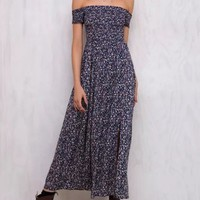 Tricycle Race Navy Blue Shirred Off Shoulder Dress