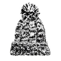 River Island Bobble Hat with Black & White Twist