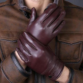 2017 New Arrival Designer Men's Gloves High Quality Real Genuine Leather sheepskin Mittens Warm Winter for Fashion Male Luvas