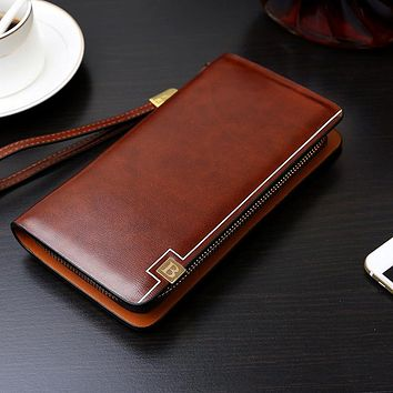 Business Men Long Wallet Designer Zipper Solid Leather Male Purse Brand Men Wallets