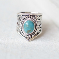 Natural Boho Turquoise Statement Ring in Solid 925 Sterling Silver