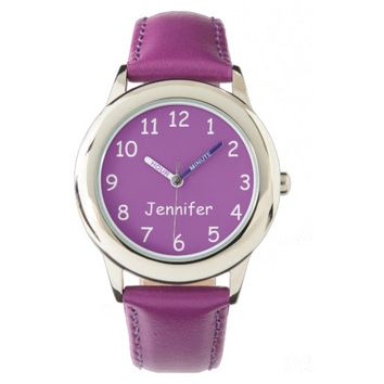Purple & White Kid's Watch, Purple Strap Wrist Watch